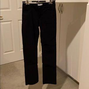 Black casual button zip up pants